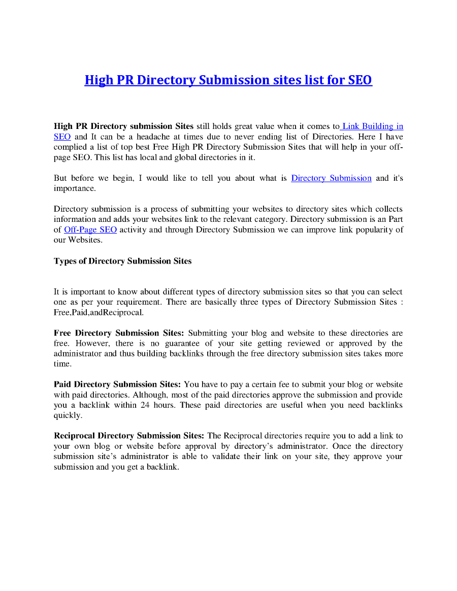 High PR Directory Submission Sites List for SEO  authorSTREAM