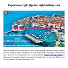 Experience right tips for right holiday visa