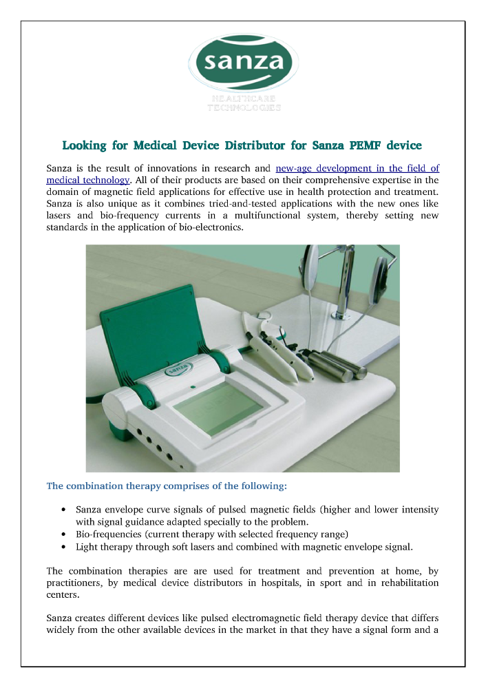 Looking for Medical Device Distributor for Sanza PEMF Device