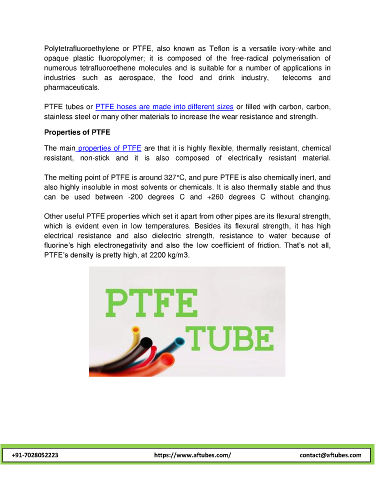The Properties And Advantages of PTFE Tube And PTFE Hose
