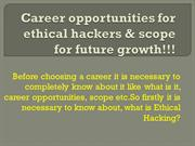 Career opportunities for ethical hackers & scope for