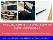 UK Board 12th Result 2018, UK Board Result 2018 Class 12