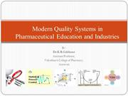 Modern Quality Systems in Pharmaceutical Education and Industries