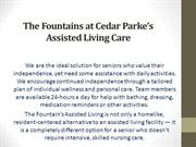 The Fountains at Cedar Parke's Assisted Living Care