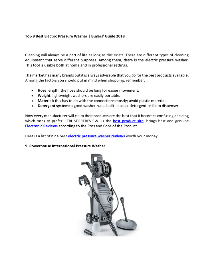 Electric Pressure Washer Reviews | Electronic Pressure