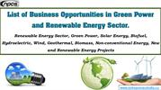 List of Business Opportunities in Green Power,.....