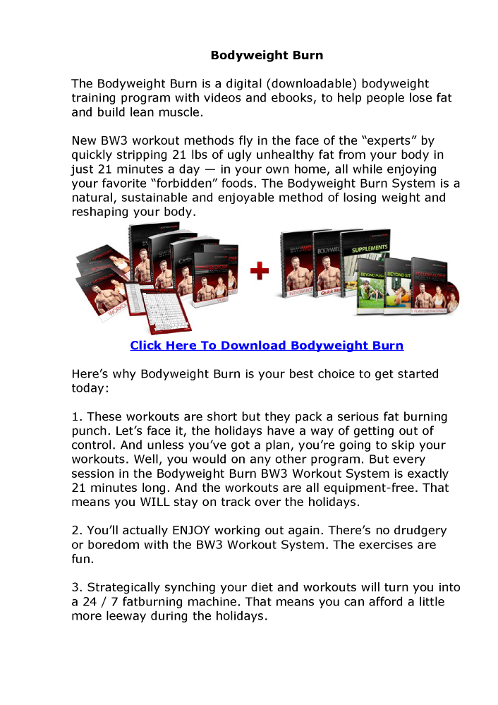 Bodyweight Burn System By Adam Steer Pdf Ebook Free Download