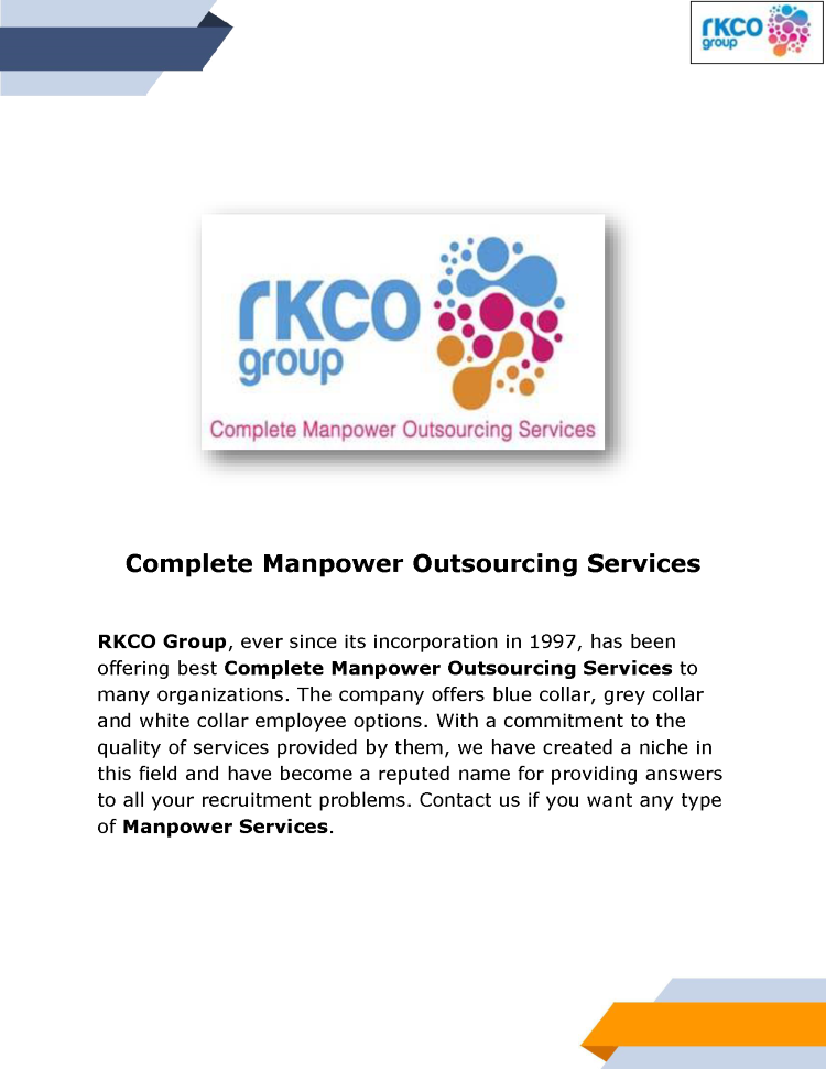Manpower Services - Manpower Outsourcing & Supply Services Provide