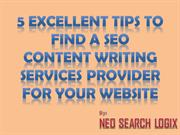 5 Excellent Tips to find a SEO Content Writing Services provider