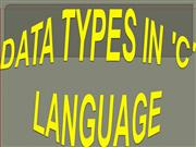 DATA TYPES IN 'C' LANGUAGE