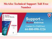 Dial 44-800-090-3226 for McAfee Tech Support Assistance