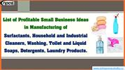 List of Profitable Business Ideas in Manufacturing of Surfactants
