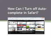 How Can I Turn off Auto-complete in Safari