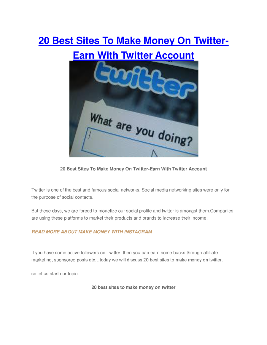 20 best sites to make money on twitter earn with twitter account