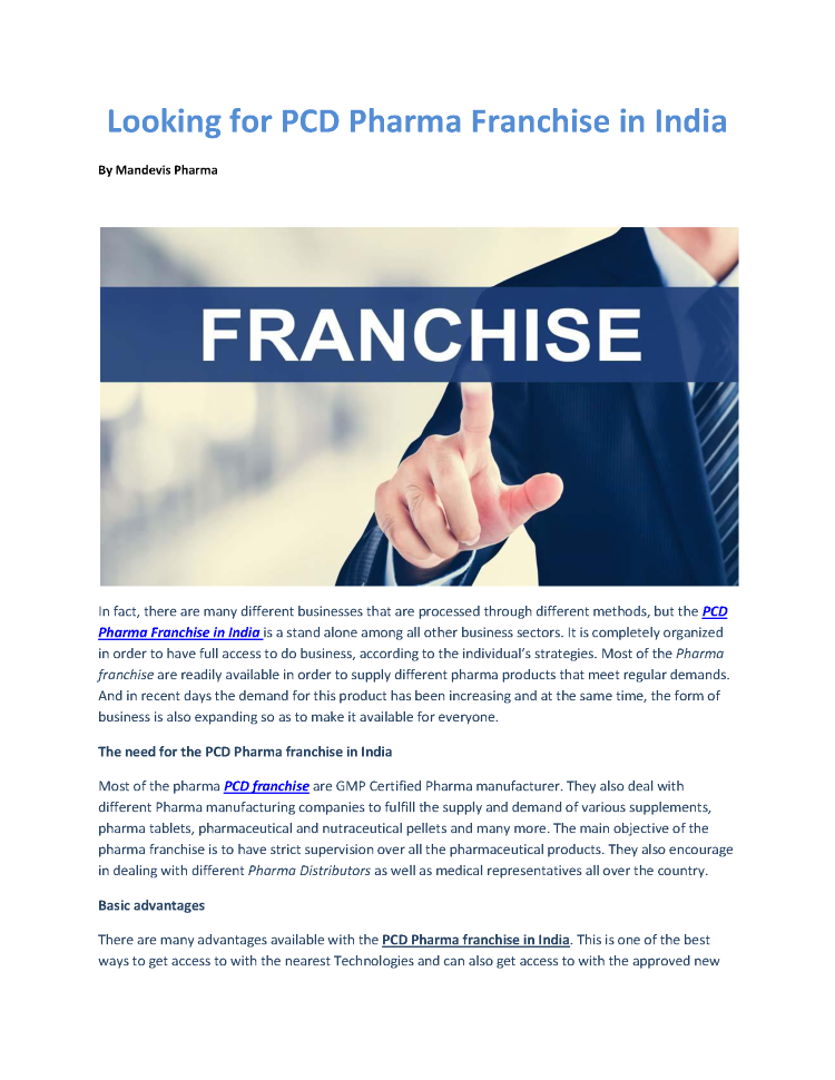 Looking for PCD Pharma Franchise in India |authorSTREAM