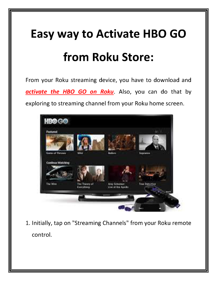 how to download hbo go on roku