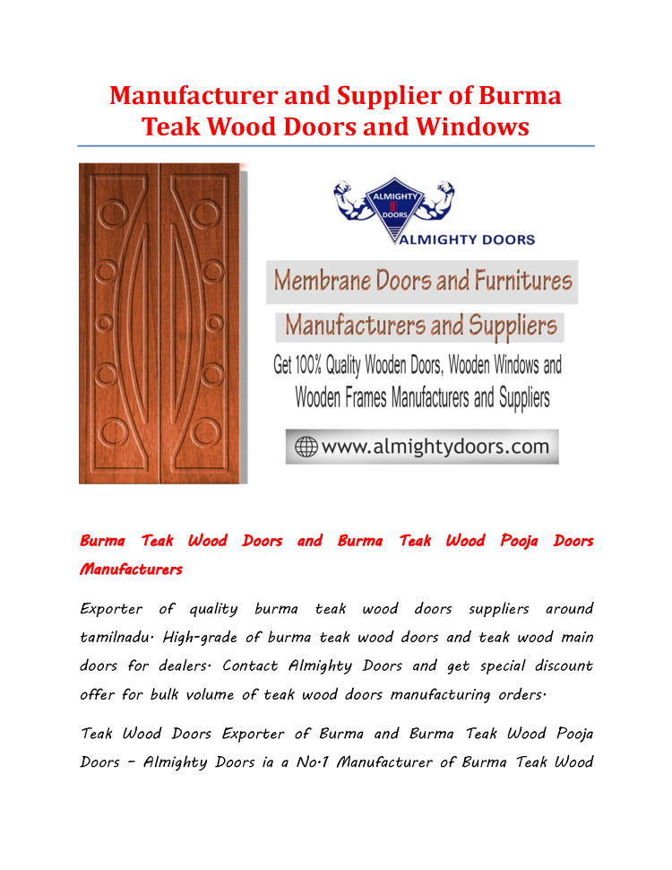 Manufacturer And Supplier Of Burma Teak Wood Doors And