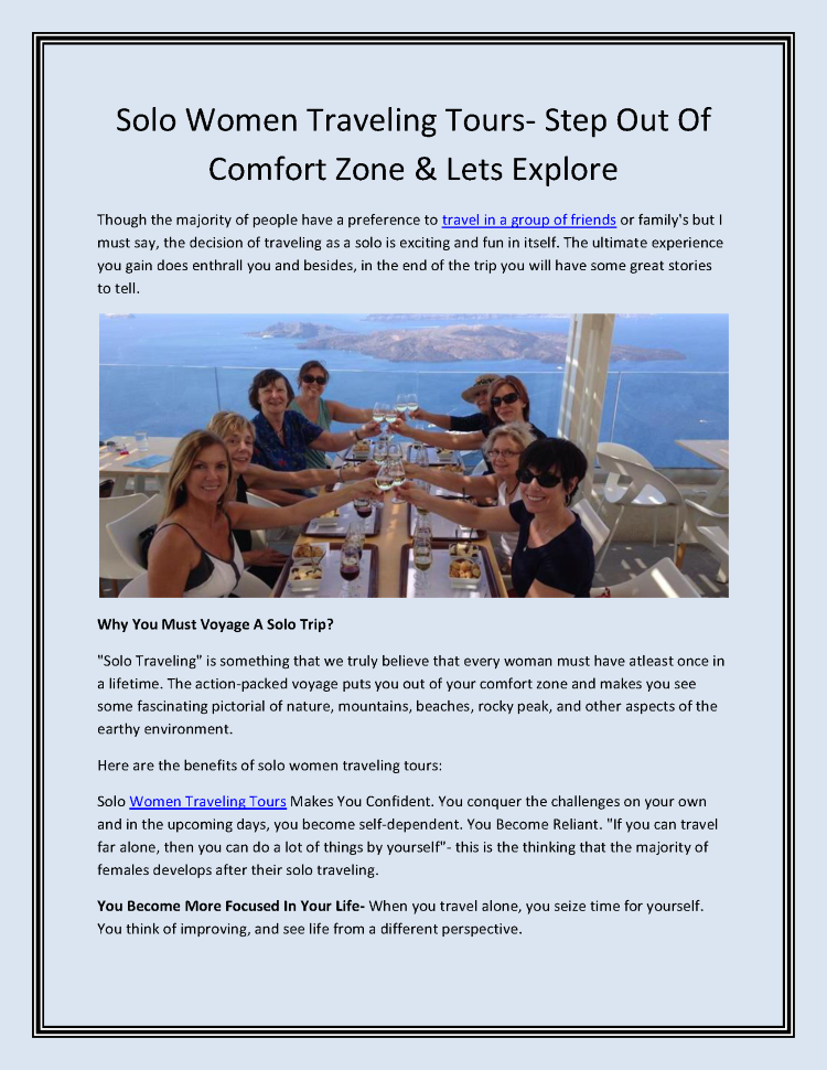 Solo Women Traveling Tours- Step Out of Comfort Zone & Lets