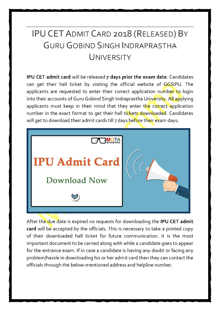 IPU CET Admit Card 2018 (Released) by GGSIU |authorSTREAM