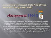 Accounting Homework Help And Online Accounts Assignment Help