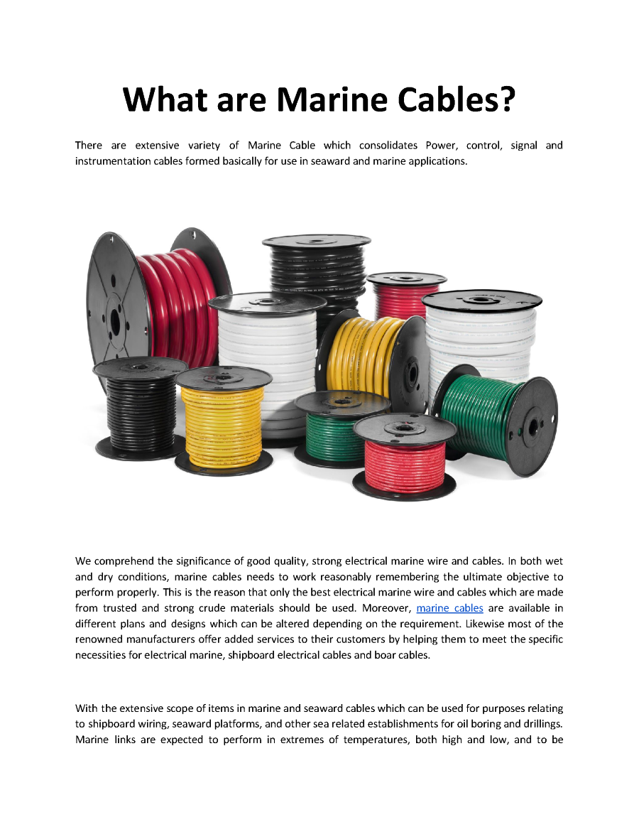 What Are Marine Cables Sppe Authorstream Wiring Related Presentations