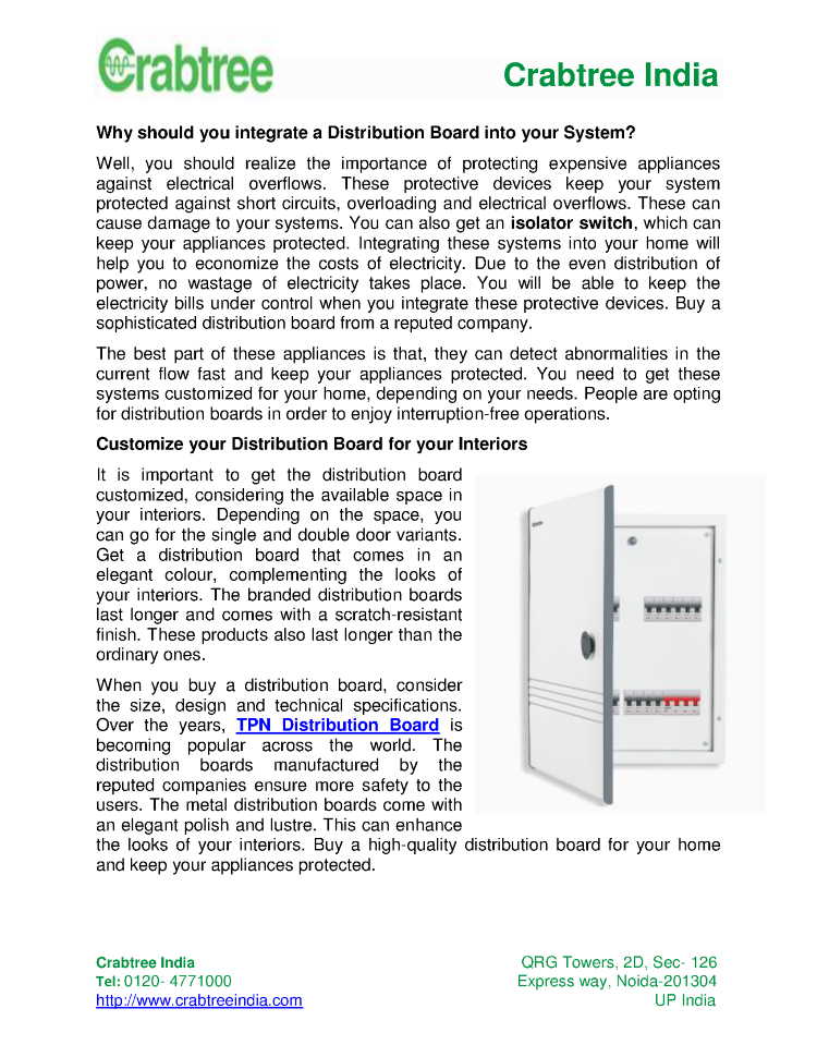 Distribution Board Optimize the Energy Usage in Your Home |authorSTREAM