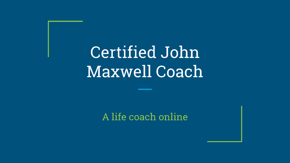 Certified John Maxwell Coach My Own Email