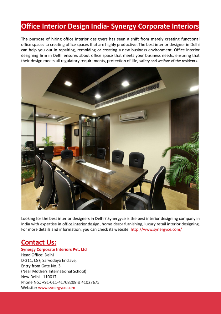 office interior design india synergy corporate interiors authorstream