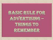 Basic Rule for Advertising – Things to Remember