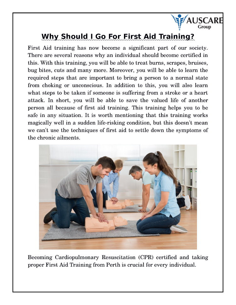 Why Should I Go For First Aid Training Authorstream