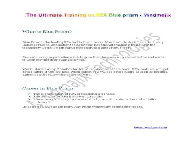 The Best Blue Prism Training Blue Prism Rpa Certification