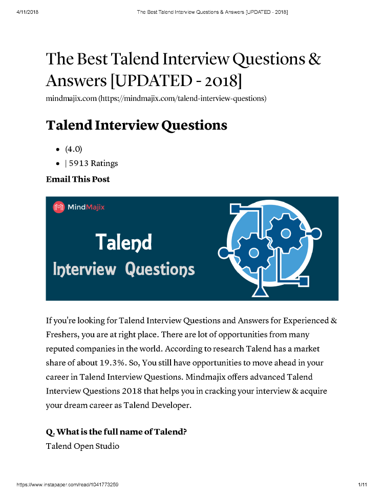 The Best Talend Interview Questions & Answers [UPDATED