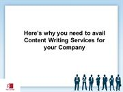 Here's why you need to avail Content Writing Services for your Company