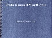 Personal Finance Tips By Brodie Johnson of Merrill Lynch
