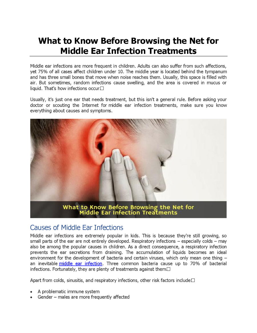 What to Know Before Browsing the Net for Middle Ear Infection Trea ...