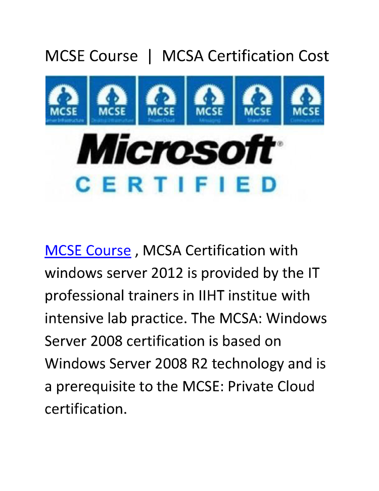 MCSE Course | MCSA Certification Cost |authorSTREAM