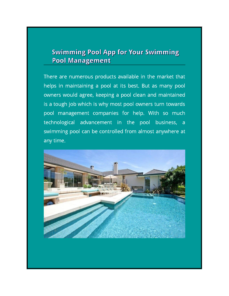 Swimming Pool App for Your Swimming Pool Management ...