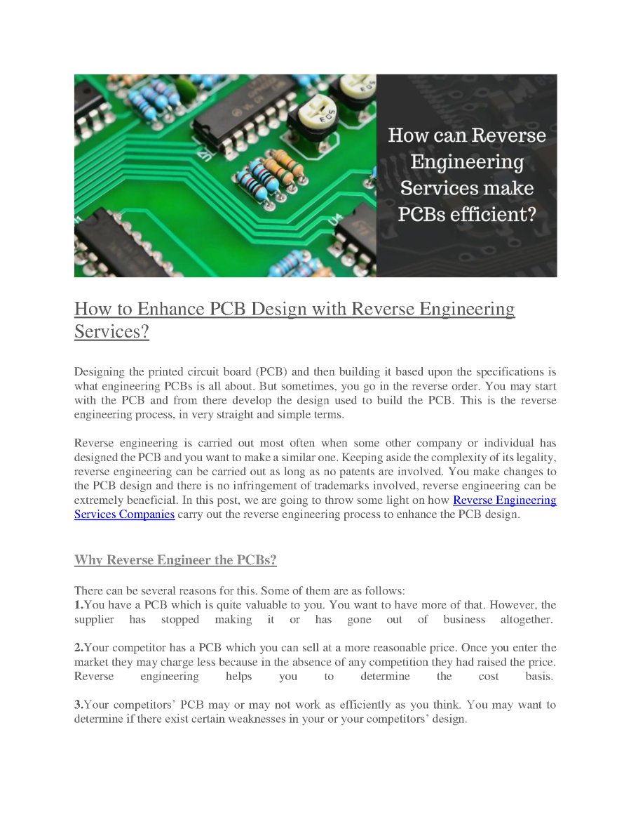 How To Enhance Pcb Design With Reverse Engineering Servicesdocx Make Printed Circuit Board Related Presentations