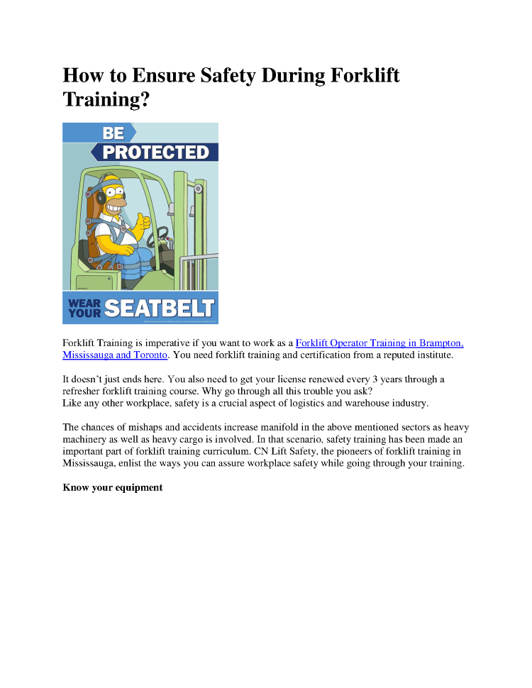 Safety During Forklift Training Forklift Training Brampton