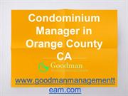 Condominium Manager in Orange County CA