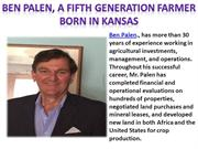 Ben Palen, a Fifth Generation Farmer Born in Kansas
