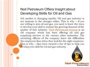 Noil Petroleum Offers Insight about Developing Skills for Oil and Gas