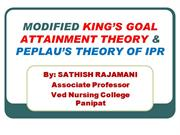 MODIFIED KING'S GOAL ATTAINMENT THEORY & PEPLAU'S THEORY