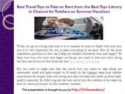 Best Travel Toys to Take on Rent from the Best Toys Library in Chennai