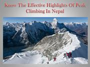 Know The Effective Highlights Of Peak Climbing In Nepal