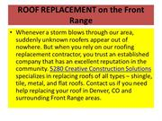 ROOF REPLACEMENT on the Front Range