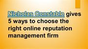 Nicholas Constable gives 4 reason why online reputation management