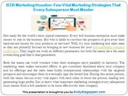 B2B Marketing Houston- Few Vital Marketing Strategies