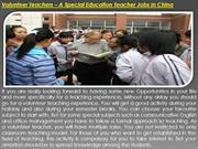 Volunteer Teachers – A Special Education Teacher Jobs In China