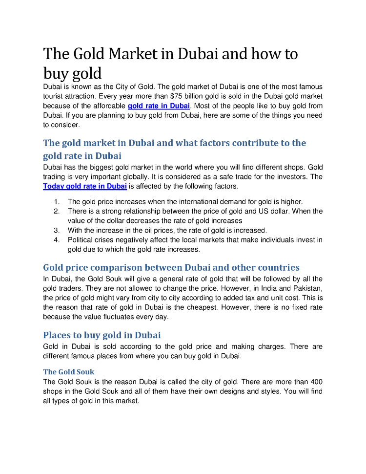 The Gold Market In Dubai And How To